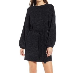 Something Navy Black Shimmer Sweater Dress